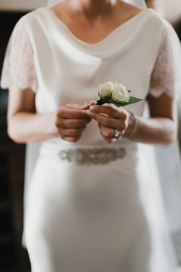 Wedding dress with simple bouquet